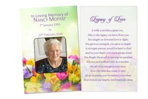 Memorium Funeral Cards Laminated